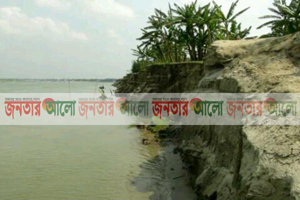সিরাজগঞ্জ উল্লাপাড়ার ফুলজোড় নদীর ভঙ্গনে বিলীন হচ্ছে জনপদ
